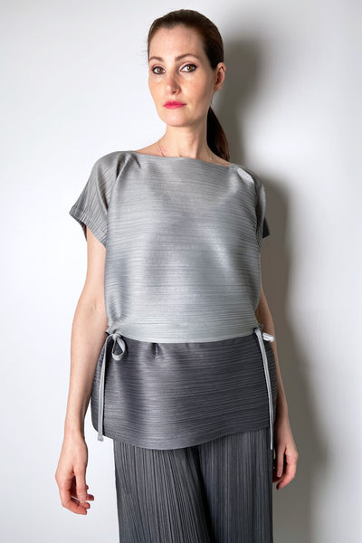 Pleats Please Grey Colour Block Bouncy Top
