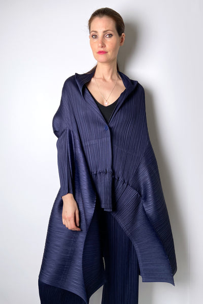 Pleats Please Oversized Navy Shawl Cardigan