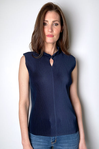 Pleats Please Navy Mandarin Collar Top