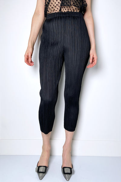 Pleats Please Black Cropped Leggings