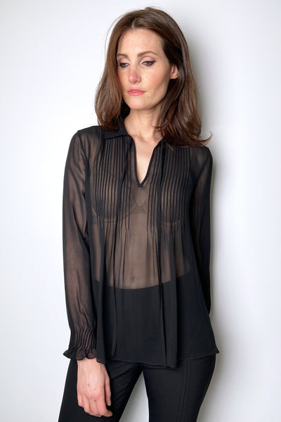 Lafayette 148 Sheer Black Peasant Top