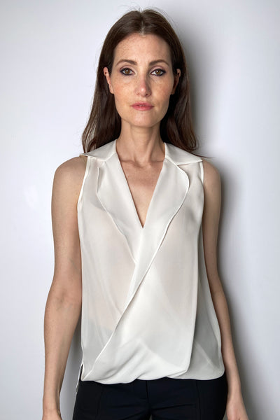 L'Agence Ivory Sheer Blouse with Blouson
