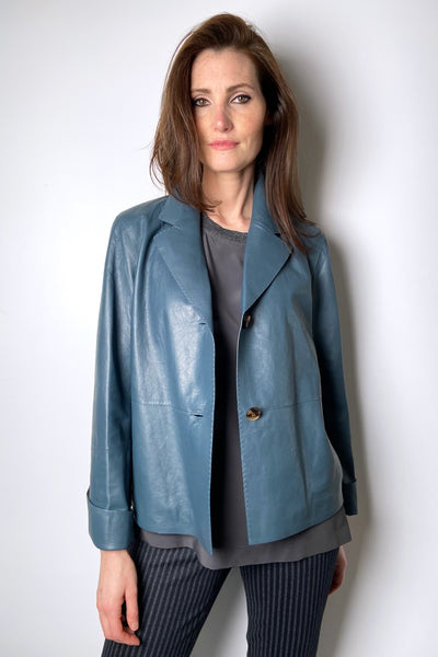 Lafayette 148 Teal Blue Leather Jacket