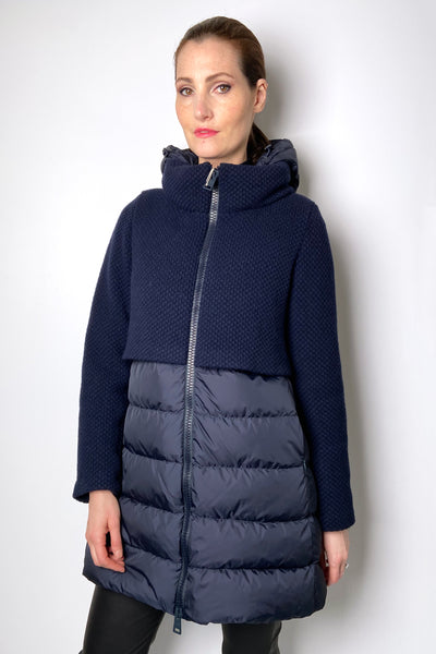Herno Navy Puffer Coat with Cropped Knit Overlay