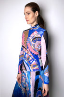 Emilio Pucci Abstract Print Stretch Tulle Sheer Turtleneck