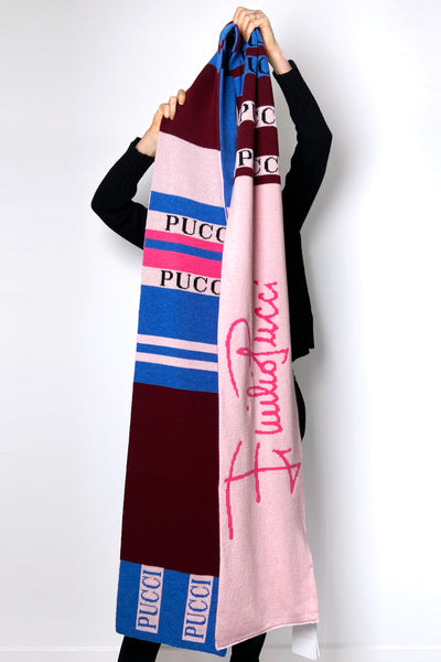 Emilio Pucci Burgundy Pink and Blue Signature Scarf