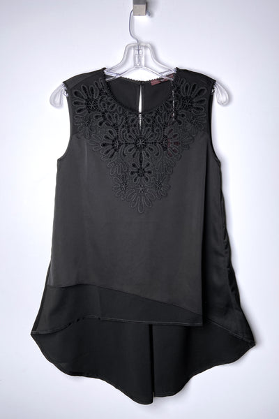 HIGH Black Billow Top with Lace Detail