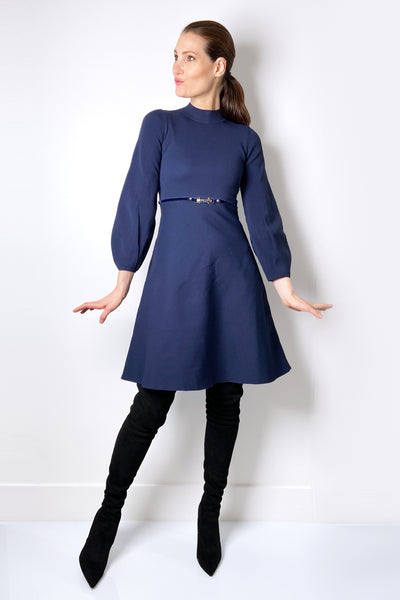 HIGH Navy Dress with Bubble Arms
