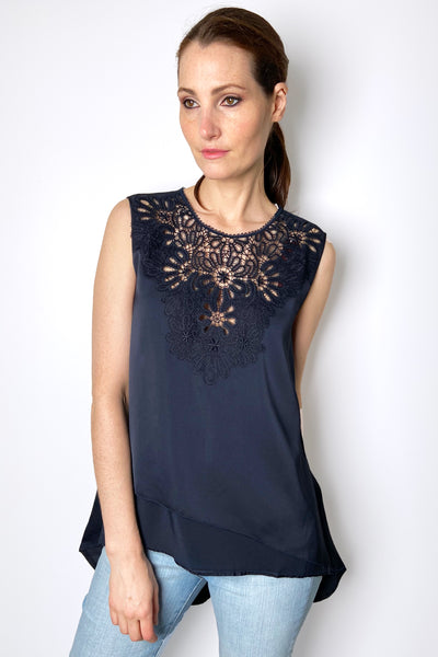 HIGH Navy Billow Top with Lace Detail