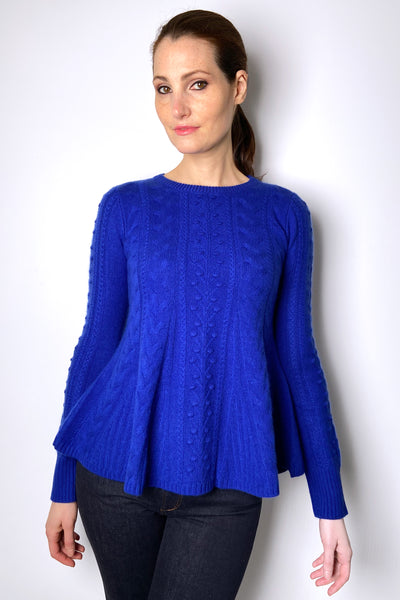 HIGH Cobalt Blue Flared Textured Cashmere Sweater
