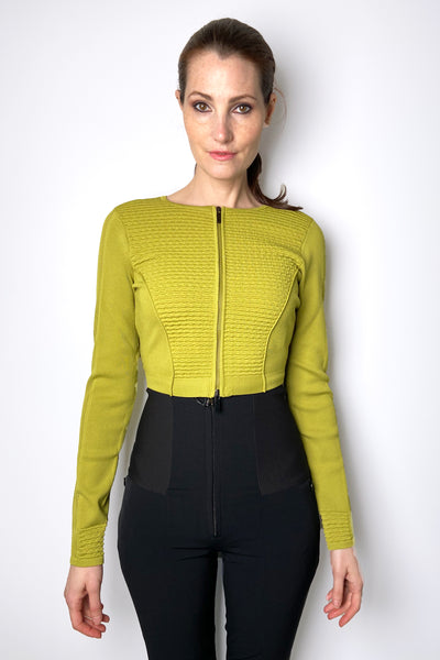 HIGH Chartreuse Cropped Cardigan