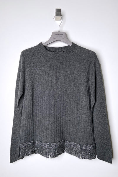 D. Exterior Grey Sweater With Sparkle Detail