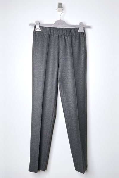 D. Exterior Grey Trousers with Subtle Sparkle