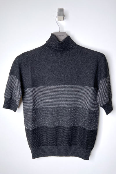 D. Exterior Charcoal Turtleneck with Sparkly Ribbing. (Last One, M)
