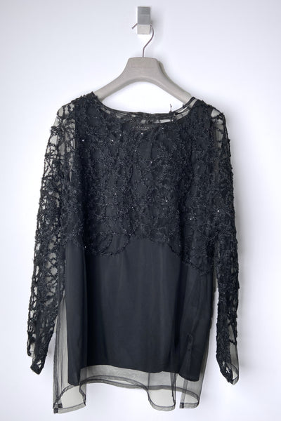 Fabiana Filippi Black Tulle Top with Embroidery