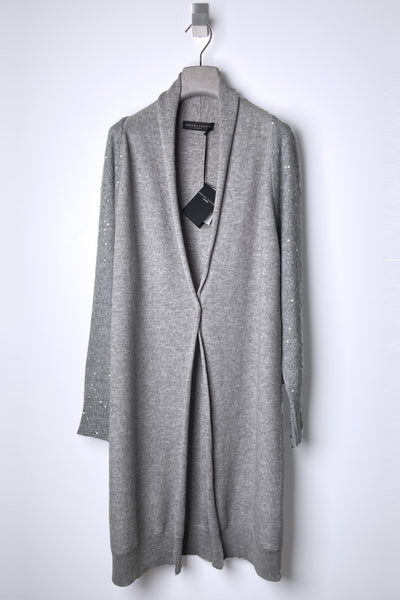 Fabiana Filippi Grey Cashmere Cardigan with Sequin Arms