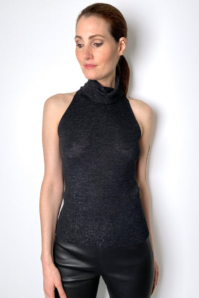 D. Exterior Sparkly Anthracite Sleeveless Turtleneck