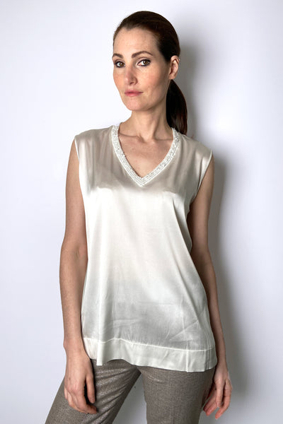 D. Exterior Cream Silk Blouse with Neck Detail