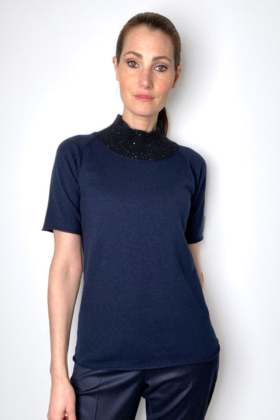 Fabiana Filippi Navy Knit Top with Embellished Mock Neck