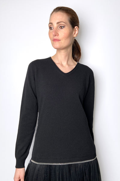 Fabiana Filippi Black V-Neck Pullover with Brilliant Waist Detail