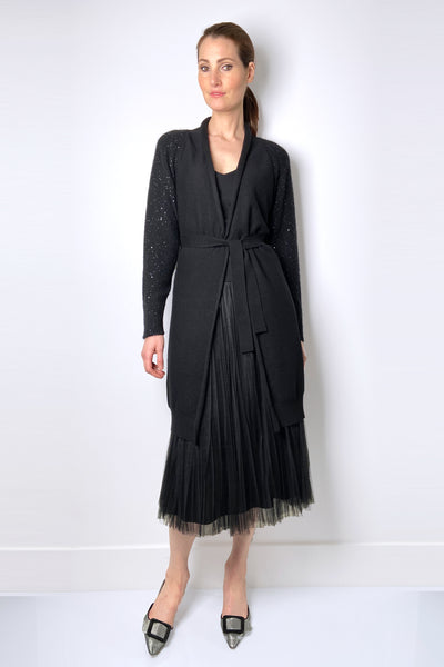 Fabiana Filippi Black Cashmere Cardigan with Sequin Arms