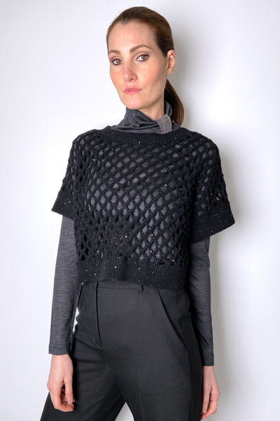Fabiana Filippi Transparent Black Knit with Micro Paillettes