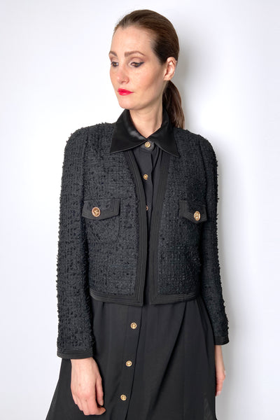 Edward Achour Short Black Tweed Jacket