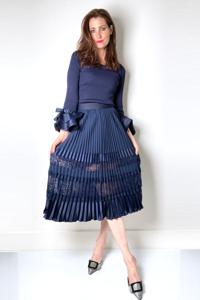 Edward Achour Navy Pleated Skirt with Sheer Lace