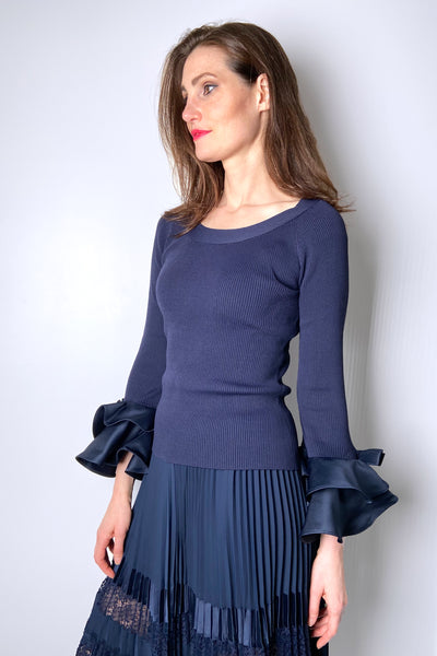 Edward Achour Navy Top with Petal Arm Detail