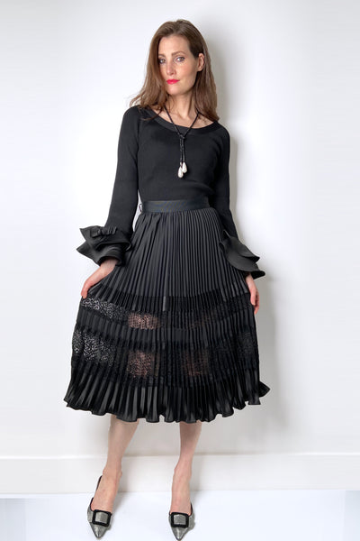 Edward Achour Black Pleated Skirt with Sheer Lace