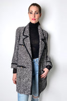 Edward Achour Black and White Tweed Boyfriend Jacket