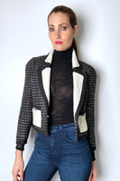 Edward Achour Cropped Tweed Jacket with Pleated Collar