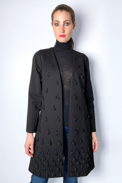 Edward Achour Black Knit Jacket with Floral Embellishments