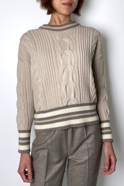 Lorena Antoniazzi Beige Cable Knit Sweater