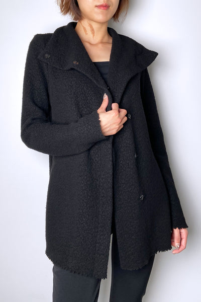 Peter O. Mahler Black Boiled Wool Cardigan
