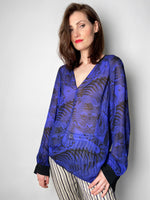 Dorothee Schumacher Sheer Purple Tiger Blouse. (Last One, Size 2)