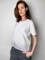 D. Exterior White T-Shirt with Sheer Pink Waist Embellishment