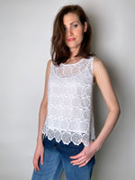 D. Exterior White Floral Lace Top
