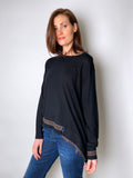 Dorothee Schumacher Black Knit Top with Sparkly Embellishment