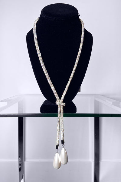Edward Achour Silver Crystal Necklace with Pearl Pendant
