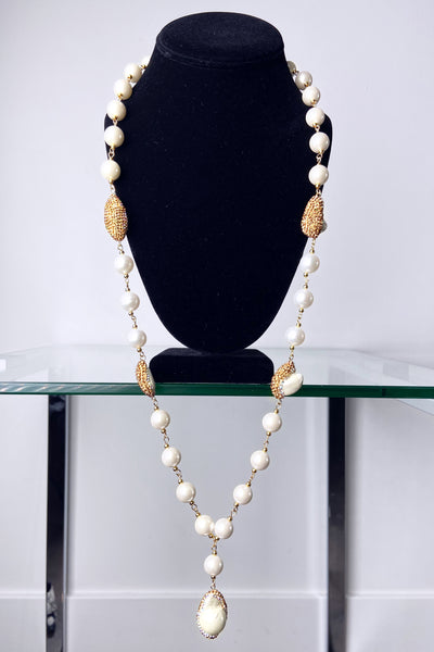 Edward Achour Pearl and Crystal Necklace