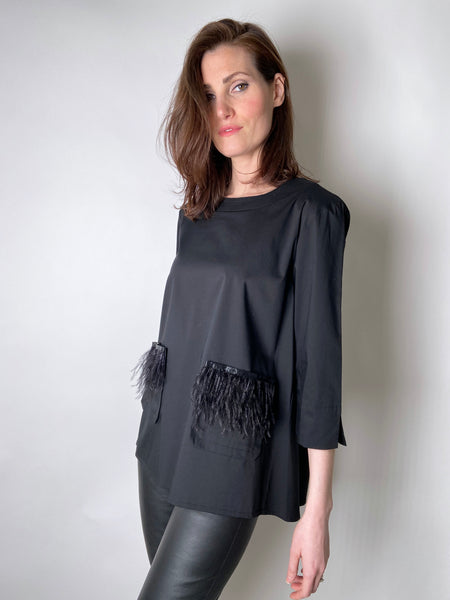 D. Exterior Black Cotton Shirt with Feather Detail