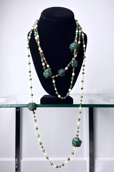 Edward Achour Green Beaded Necklace