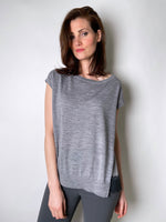 Dorothee Schumacher Grey Cap Sleeve Top with Silk Lace Detail. (Last One, Size 4)