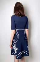 D. Exterior Navy A-Line Dress with Floral Print