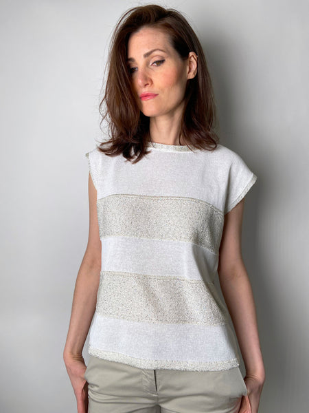 D. Exterior White and Cream Cap Sleeve Knit Top