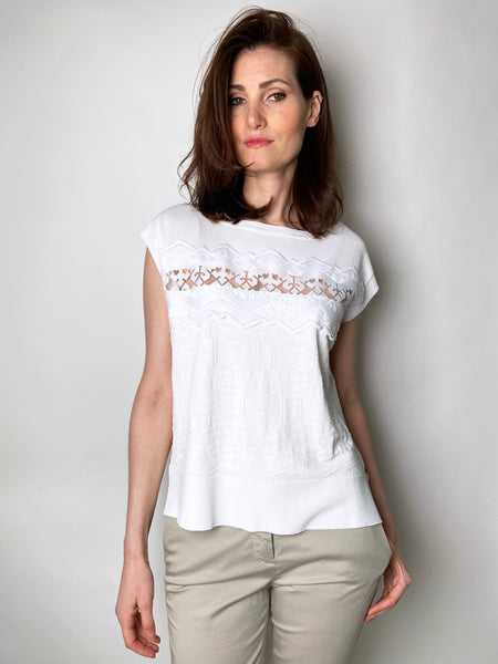 D. Exterior White Cap Sleeve Top with Sheer Panel