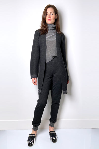 D. Exterior Charcoal Cardigan With Lurex Detail