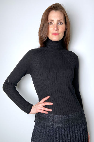 D. Exterior Black Turtleneck With Sparkle Detail