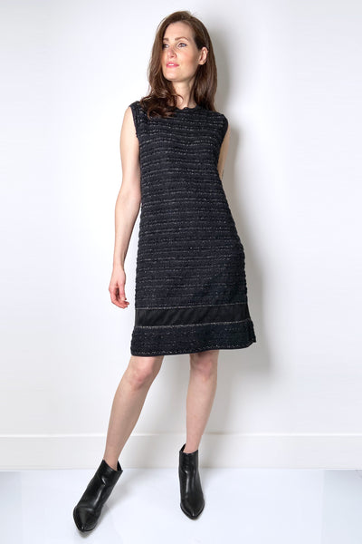 D. Exterior Black Knit Tweed Dress